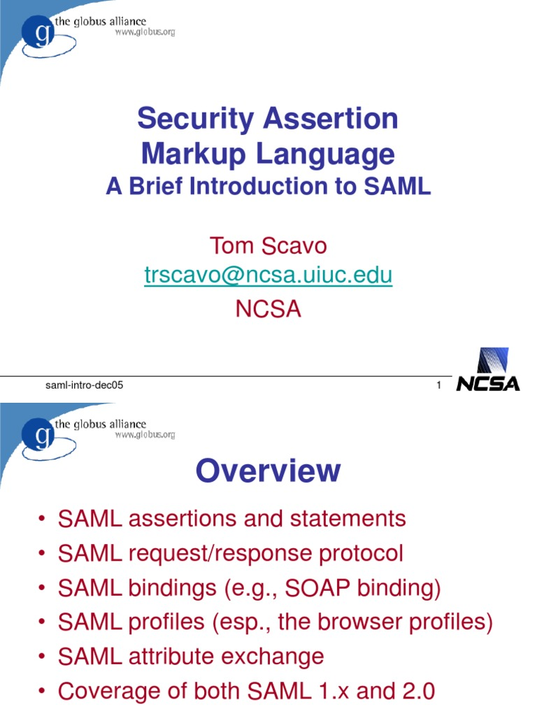 Saml Intro Dec05 | Soap | Computer Network Security