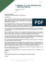 Reglamento General a La Ley Organica Del Servicio Publico