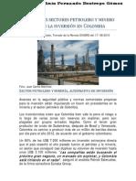 Auge de los sectores petrolero y minero atraen la inversión en Colombia