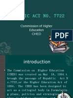 CHED--Republic Act No. 7722 or the Higher Education Act of 1994.odp