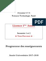 Programme 1ère Année S1 Et S2 17-18