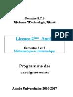 Programme 2017-2018 MAT Et INF 2ème Année