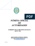 Nomina Autoridades Gobierno Salta 2016