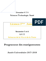 Programme 2017-2018 SVT 3eme Année