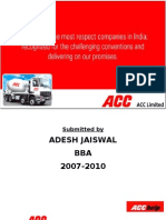 Summer training project on ACC cement Help center,  Adesh Jaiswal, Varanasi.