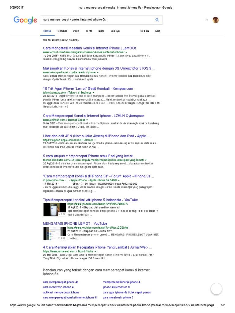Cara Mempercepat Koneksi Internet iPhone 1s - Penelusuran Google