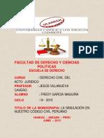 La Simulación en Nuestro Código Civil Peruano