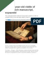 voynich summary- week 3