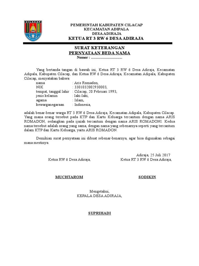 Contoh Surat Pernyataan Beda Nama Di Ktp Dengan Ijazah