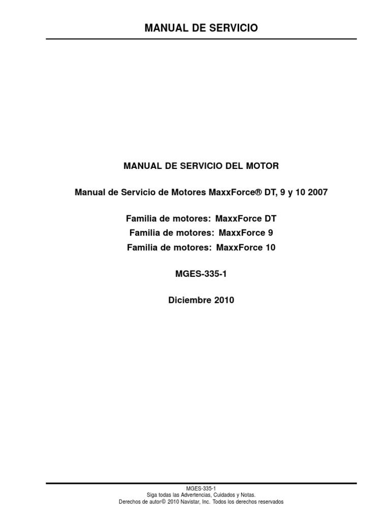 Navistar Manual De Servicio De Motores Maxxforce U00ae Dt  9 Y