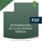 Determinacion de La Difusividad Termica