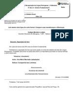 ATIVIDADE DE RECUPERAÇÃO de Língua Portuguesa - 6° ano A 3°Bim