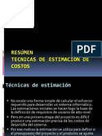 Resumen Tecnicas de Estimación de Costos