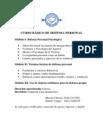 Programa Del Curso Basico Defensa Personal
