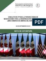 28-09-17 CONCLUYE EN OTTAWA LA TERCERA RONDA DE NEGOCIACIONES PARA LA MODERNIZACIÓN DEL TRATADO DE LIBRE COMERCIO DE AMÉRICA DEL NORTE