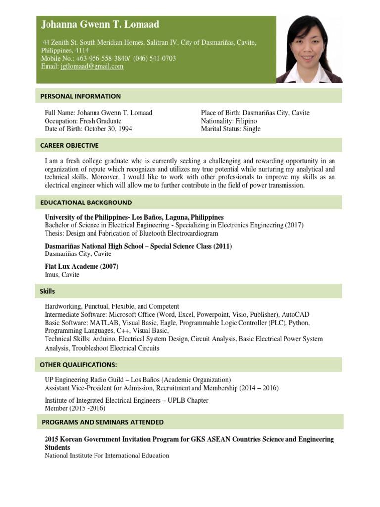 johanna gwenn lomaad  resume  science and technology