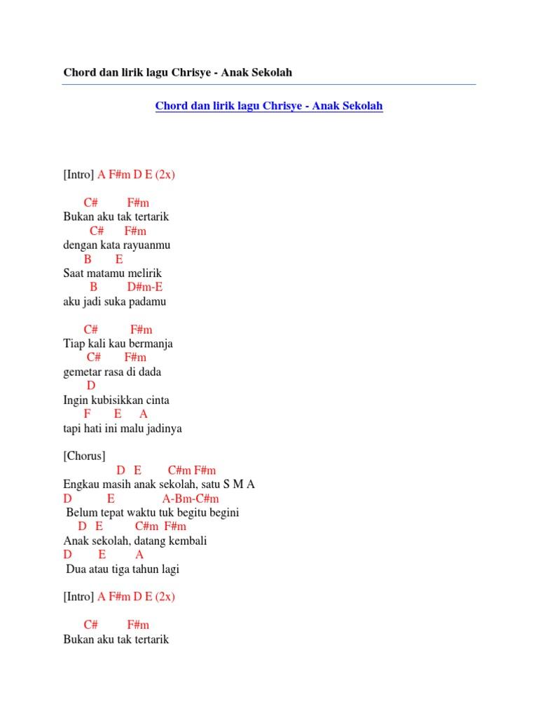 Chord Dan Lirik Lagu Chrisye Anak Sekolah
