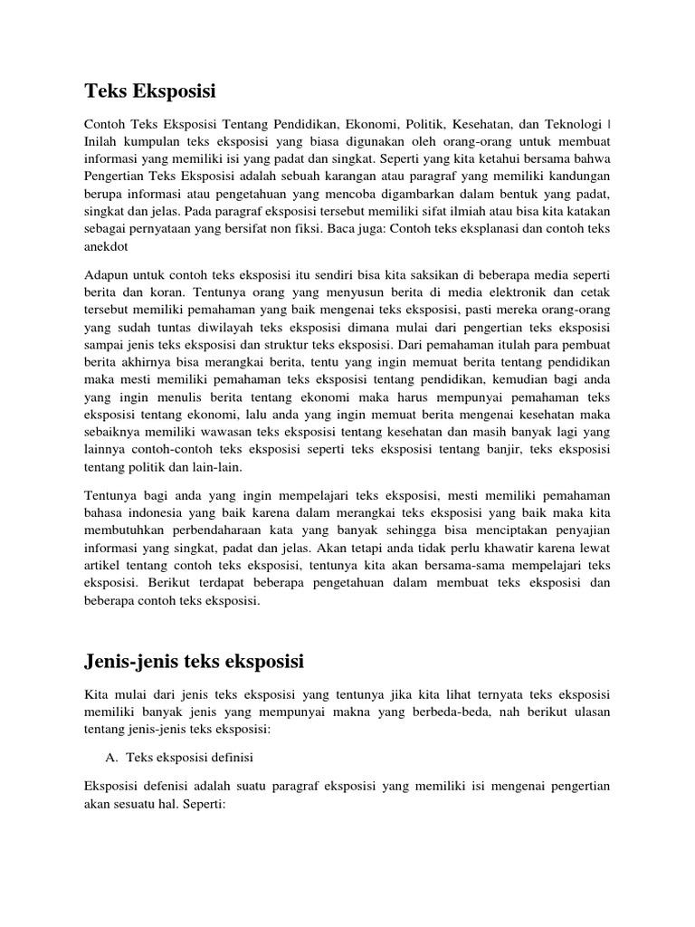 Pengertian Teks Eksposisi Definisi Dan Contohnya Brad Erva Doce Info