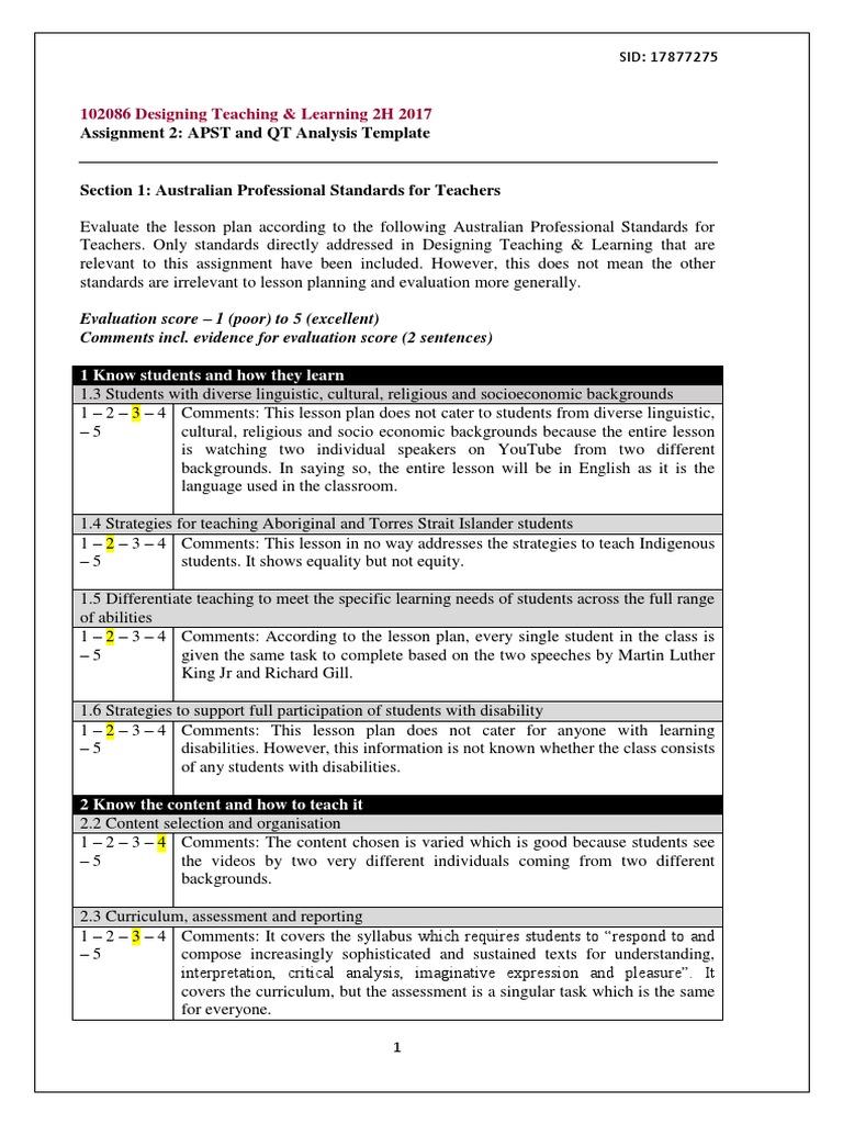 design final assessment | Lesson Plan | Educational Assessment