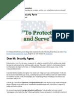 Dear Mr. Security Agent by Matt Bracken