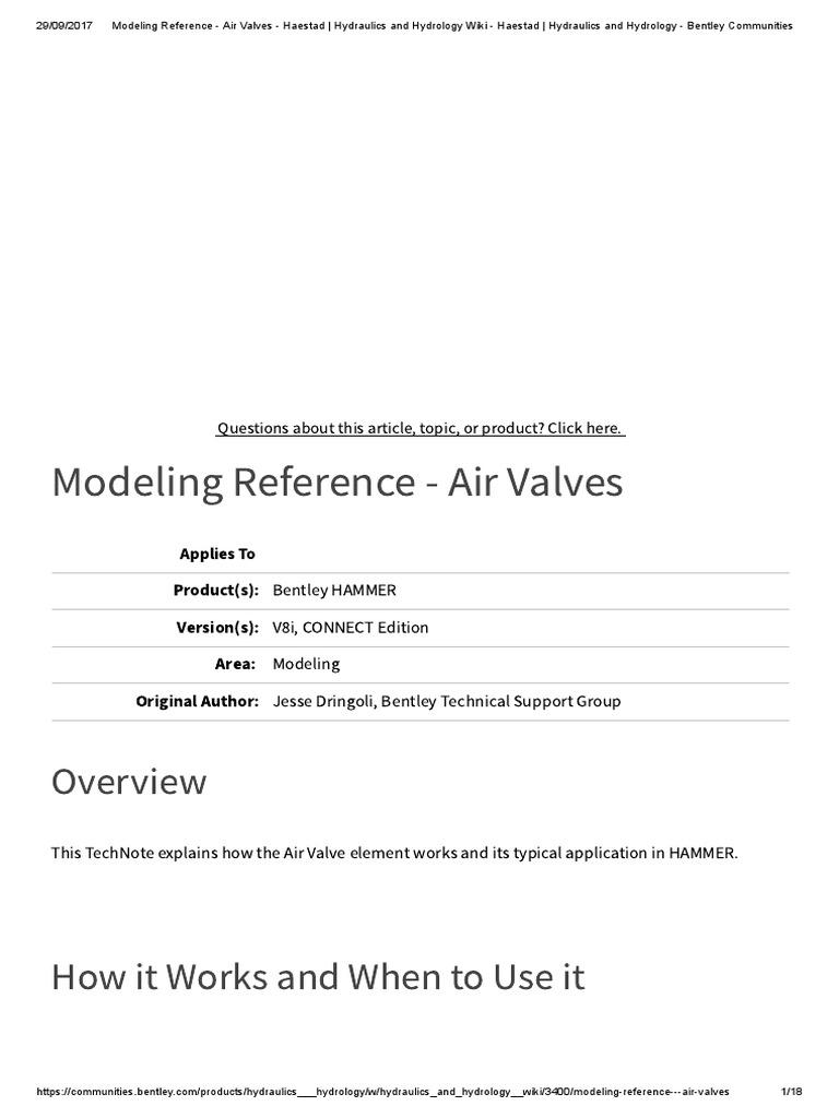 HAMMER Modeling Reference - Air Valves - Haestad _