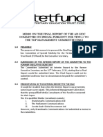Final Report of the Ad Hoc Commottee on Special Publicity for Tetfund to the Top Management Committee