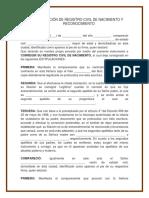 Correción de Registro Civil de Nacimiento y Reconocimiento 1