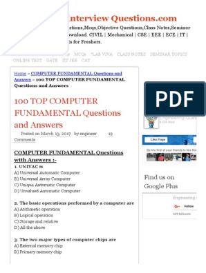 100 Top Computer Fundamental Questions and Answers Computer