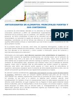 ANTIOXIDANTES en ALIMENTOS_ PRINCIPALES FUENTES Y SUS CONTENIDOS _ Antioxidantes Portal Antioxidantes Primer Portal de Antioxidantes, Alimentos y Salud en El Mundo de Habla Hispana