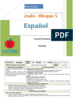 Plan 6to Grado - Bloque 5 Español