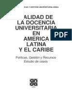 Calidad de La Docencia Universitaria en América Latina y El Caribe