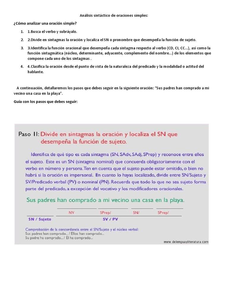 Analisis Sintactico De Oraciones Oración Lingüística