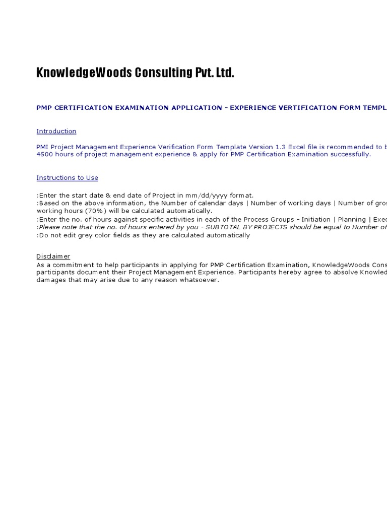Copy Of Pmi Pm Experience Verification Form 2 Template Version 2003