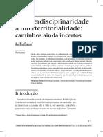 Da Interdisciplinaridade a Interterritorialidade Ana Mae Barbosa