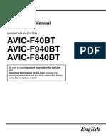 Pioneer AVIC F40BT Navigacia