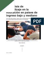 Hay Crisis de Aprendizaje en La Educación en Países de Ingreso Bajo y Mediano