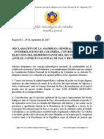 Declaración sobre Elección Rpte. Sector Religioso en El Consejo Nacional de Paz