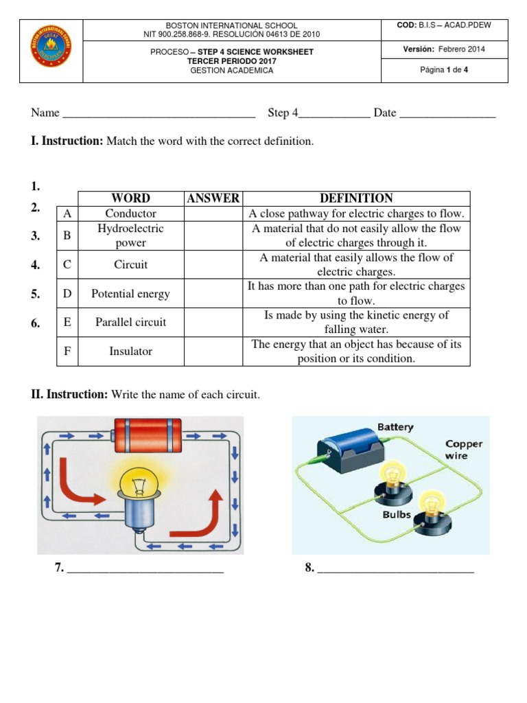 Step 4 Science Pde 3rd Term Taller 2017 Electricity Electric Kinetic Battery Wiring Diagram Current
