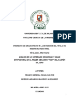 Análisis de Un Sistema de Seguridad y Salud Ocupacional en El Taller FAST Del Cantón Milagro