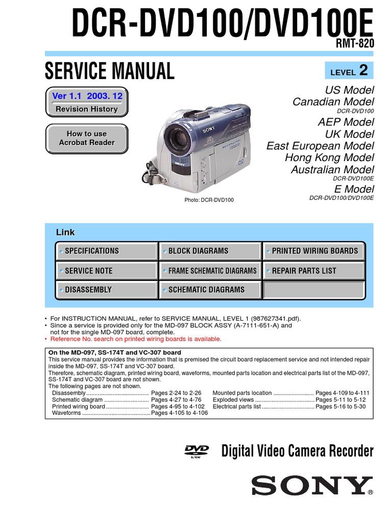 Sony Dcr Dvd100pdf Soldering Video Akira Intercom Wiring Diagram