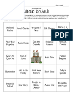 middle ages bingo board