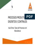 PPDC - Tipos de Processos de Manufatura e Tipos de Processos de Serviços