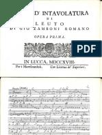 Sonate d Intavolatura Di Leuto Op1 Zamboni