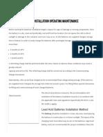 Lead Acid Batteries Installation Operating Maintenance Instructions - Method Statement HQ