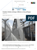 Estados Unidos Entrega a México a Tres Prófugos