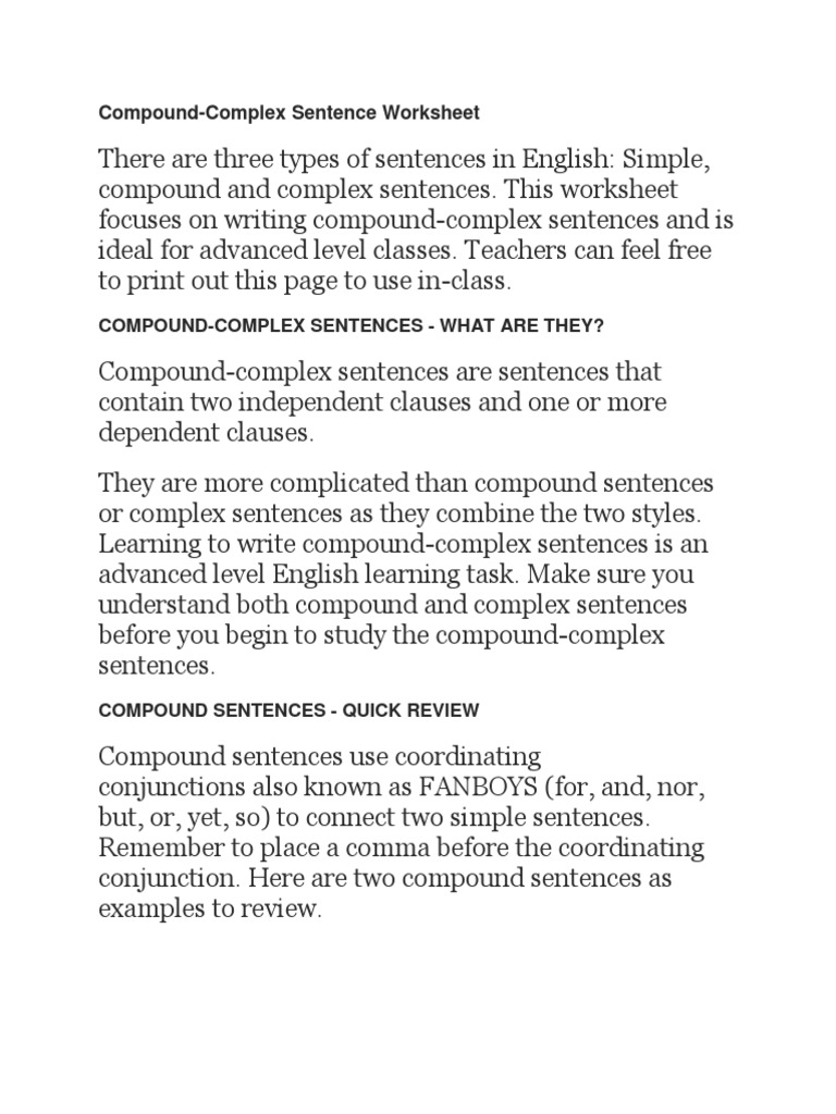 Sentences Worksheets Compound Sentences Worksheets Map Of Usa With