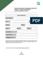 Enfermería Formulario Solicitud Acreditacion Colaboración en Periodo de Prácticas de Alumnos de Grado de Enfermería