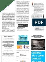 Folder Combate Ao Tráfico de Pessoas Frente e Verso