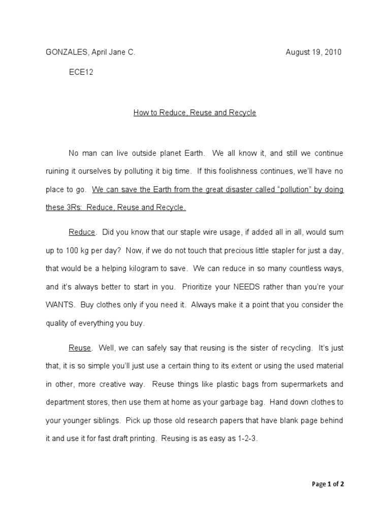 how to reduce reuse and recycle instruction essay