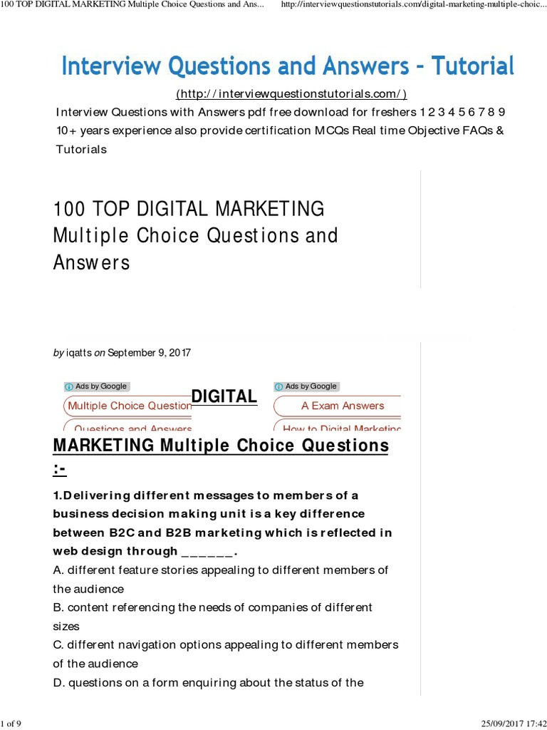 G 100 Top Digital Marketing Mcqs Digital Marketing Search Engine Optimization